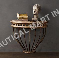 CAST IRON DEMILUNE CONSOLE TABLE