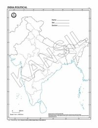 India with states desk Outline Map -