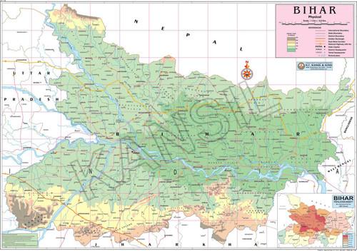 Multicolor Bihar Physical Map