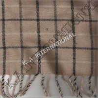 Beige Check Wool Throw Blanket