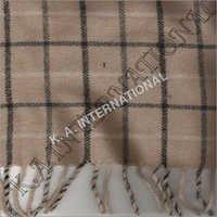 Beige Check Wool Throw Blanket