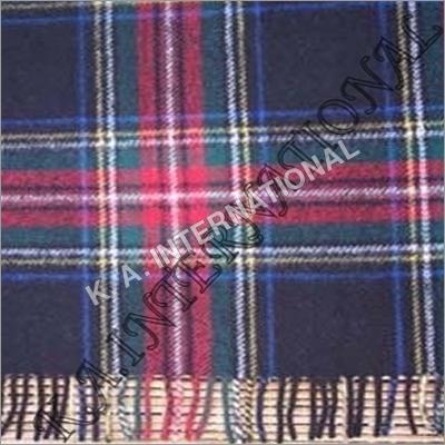 Black Check Wool Throw Blanket