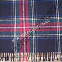 Black Check Wool Throw Blanket
