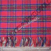 Scottish Red Check Wool Throw Blanket