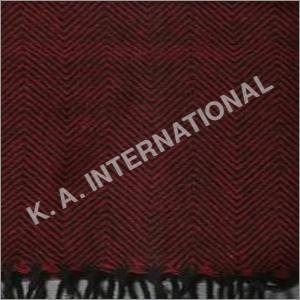 Red Black Wool Herringbone Throw Blanket