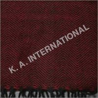Red Black Wool Herringbone Throw Blanket