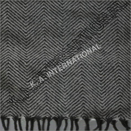 White/Black Wool Herringbone Throw Blanket