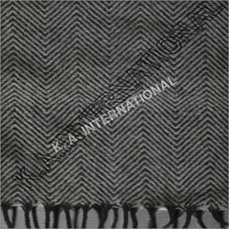 White/Black Wool Herringbone Throw Blanket
