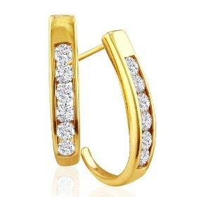 1/2 CT HOOP 14K GOLD DIAMOND EARRINGS # INTE011