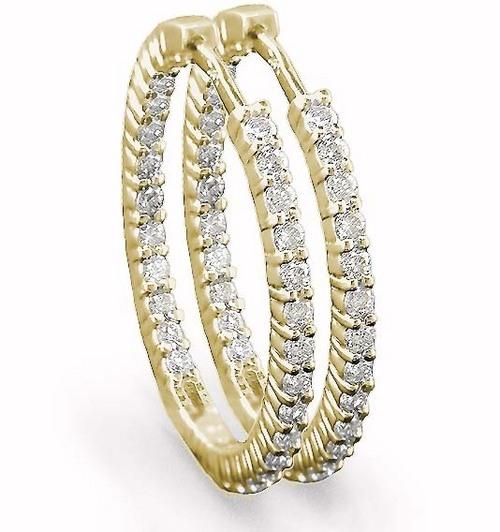 1.00 CT HOOP 14K GOLD DIAMOND EARRINGS # INTE014