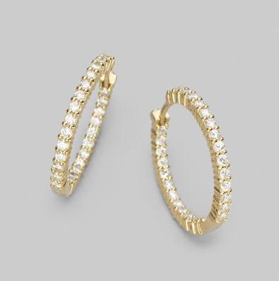 1.00 CT HOOP 14K GOLD DIAMOND EARRINGS # INTE015