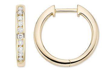 1/2 CT HOOP 14K GOLD DIAMOND EARRINGS # INTE018