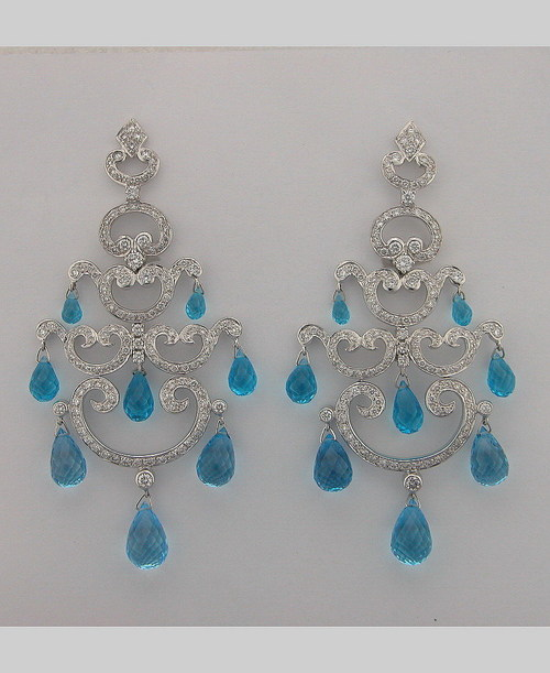 32.60CT DIAMOND AQUAMARINE WHITE GOLD EARRINGS # INTE028