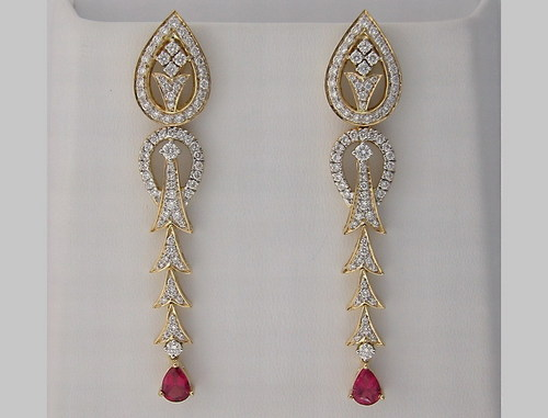 10.20 CT DIAMOND TOURMALINE YELLOW GOLD EARRINGS # INTE034