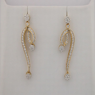 1.40 CT DIAMOND YELLOW GOLD EARRINGS # INTE044
