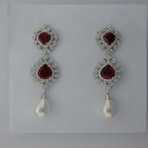 34.00 CT DIAMOND RUBY WHITE GOLD EARRINGS # INTE045