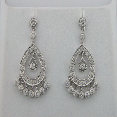 1.25 CT DIAMOND WHITE GOLD EARRINGS # INTE050
