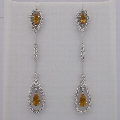 19.65 CT DIAMOND CITRINE WHITE GOLD EARRINGS # INTE052