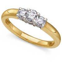 1.07CT THREE STONE OF LIFE 14K GOLD DIAMOND RING