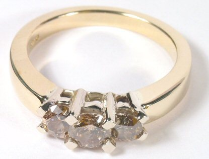 3/4ct Champagne Diamond 14K Gold Ring