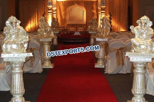 Wedding Aisleway Pillars with Ganesha Statue