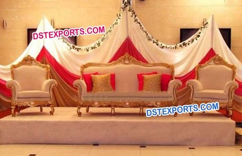 Indian Wedding Stage Gold Sofa Set