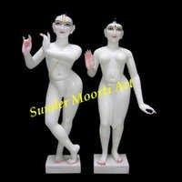 White Marble Iskon Radha Krishna Statues