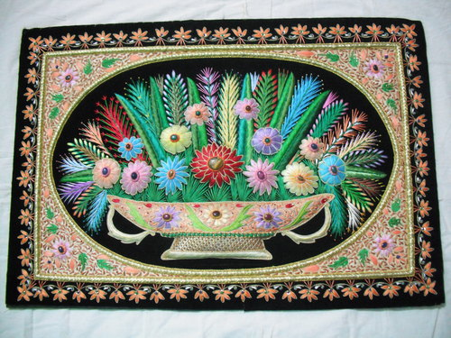 Embroidered Flower Wall Hanging