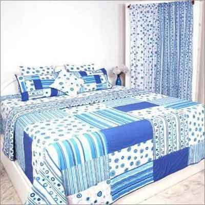Cotton Printed Bedcover with Curtains