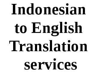 Indonesian To English Translation