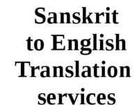 Sanskrit to English Translation Services