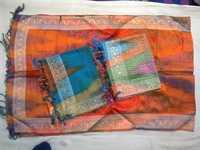 100% silk rainbow zari scarfs