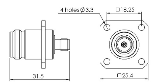 BULKHEAD ADAPTOR N FEMALE - SMA FEMALE SQUARE FLANGE