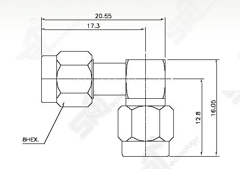 SMA male right angle to SMA male adaptor