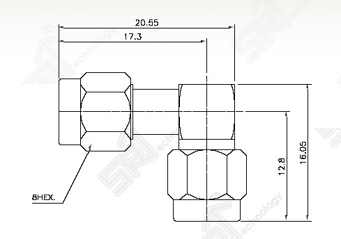 SMA male right angle to SMA male adaptor
