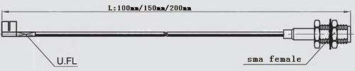 sma female bulkhead to UFL 10cm cable