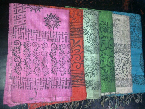 100% Silk hand blocks printed scarfs