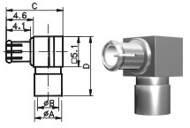 MCX male right angle connector for BT 3002 cable 75 ohms