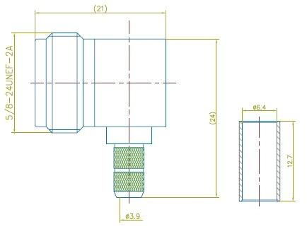 n female bulkhead right angle crimp connector for LMR 200