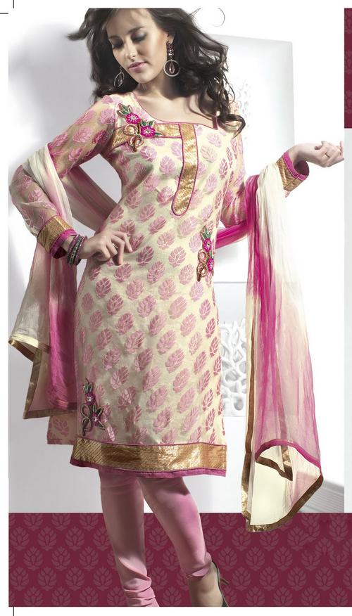Gorgeous Deep Pink & Pale Buttercream Salwar Kameez