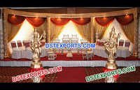 Golden Fiber Carved Wedding Stage