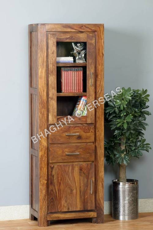 Wooden Long  Cabinet with Glass