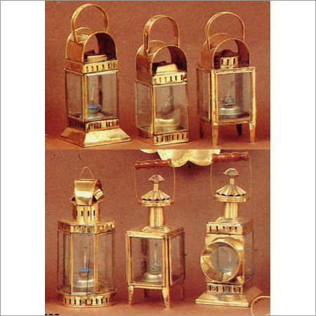 Cabin Lantern Brass Glass Oil Lamp Set