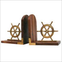 Book End Pair Sheep Wheel Wooden Base