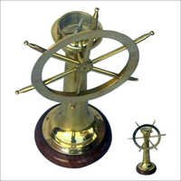 Brass Ship Wheel Compass
