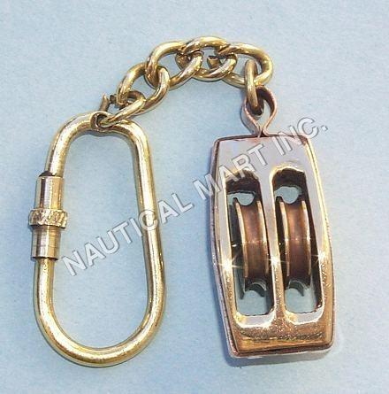 ANTIQUE BRASS PULLEY KEY CHAIN