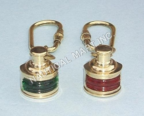 NAUTICAL BRASS COLORED SET OF LAMP KEY CHAINS