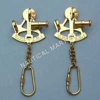 NAUTICAL BRASS SET OF SEXTANT KEY CHAIN
