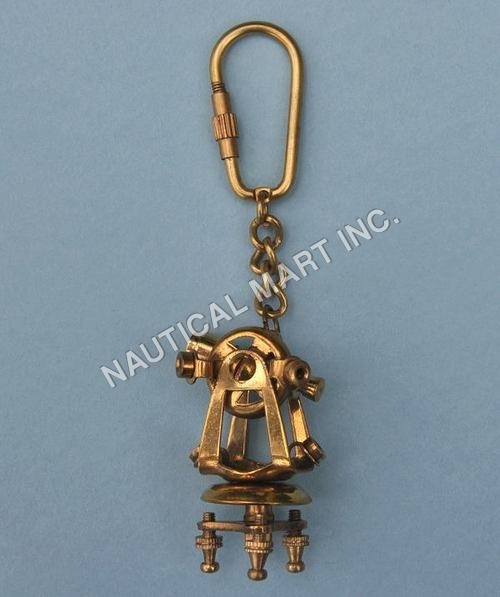 NAUTICAL BRASS THEODOLITE KEY CHAIN