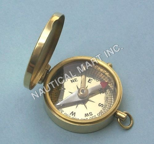 BRASS NAUTICAL LID COMPASS KEY CHAIN